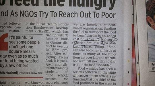 Share A Smile Mentioned in The Times of India for its work on serving left over food at functions to the needy.